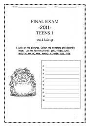 English Worksheets: Test: Writing