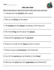 English Worksheets: exact nouns