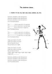English Worksheet: The skeleton dance