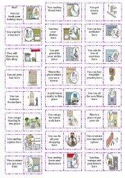 English Worksheet: places in town dominoes