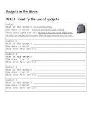 English Worksheets: Stormbreaker gadget worksheet