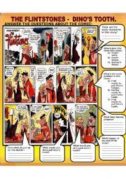 English Worksheet: THE FLINTSTONES - DINO´S TOOTH COMIC