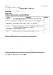 English Worksheet: module 5, lesson 3, Where Shall We Go?