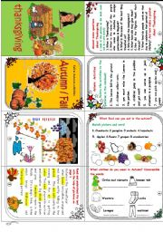 English Worksheets: Autumn/fall minibook (Vocabulary in context + activities +Thanksgiving )