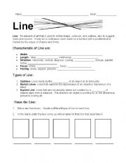 English Worksheets: Element of Line