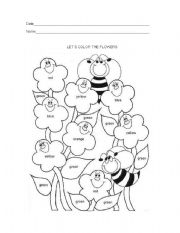 English Worksheet: coloring the flowers