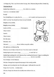 English Worksheet: Peppa Pig - Cleaning the Car