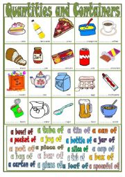 English Worksheet: Quantities and Containers