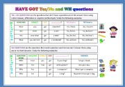 English Worksheet: Have got yes/no and wh questions
