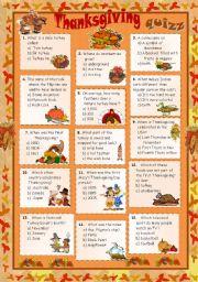 English Worksheet: Thanksgiving set 1 - Quiz + key