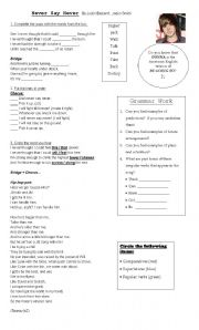 English Worksheets: Never Say Never by Justin Bieber