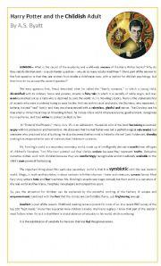 Reading Comprehension - Harry Potter