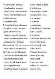 English Worksheet: Matching Sentences Because