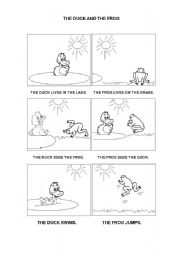English Worksheets: The duck and the frog (part 1)