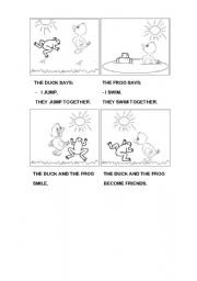 English Worksheets: The duck and the frog (part 2)