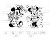 English Worksheet: Mickey and Minnie cut and paste body parts