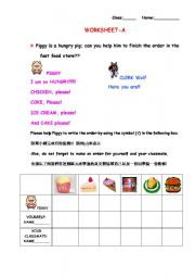 English Worksheets: Piggy is a hungry pig