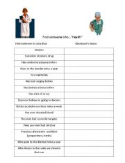 English Worksheet: Find Someone Who- Health Questions