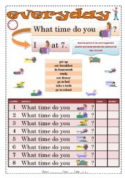 English Worksheet: What time do you? Everyday actions
