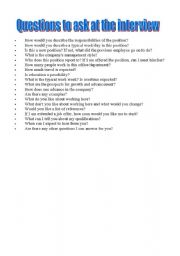 English worksheet: Questions to ask at the interview