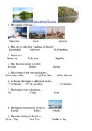 English Worksheet: Quiz about Russia