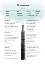 English Worksheet: Skyscraper - Demi Lovato
