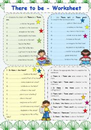 English Worksheet: THERE TO BE VERB - WORKSHEET