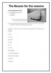 English worksheets: The reason for the seasons