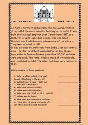 English Worksheet: THE TAJ MAHAL