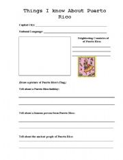 English Worksheets: Things I know  about Puerto Rico