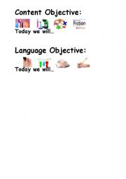 English worksheets: Content and Language Objectives Poster