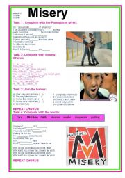 English Worksheets: Misery Maroon 5