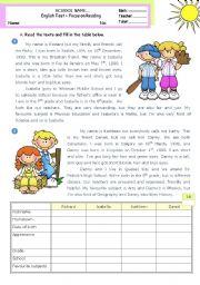 English Worksheet: Personal Information  -  Reading Test