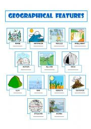 English Worksheets Geographical Features