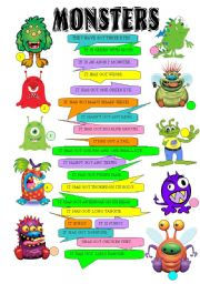 English Worksheet: Monsters - have, has