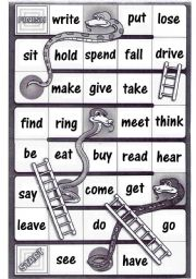 Irregular verbs - Snakes and ladders board game