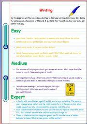 English Worksheets: Writing exercises and hints