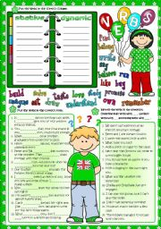 English Worksheet: Parts of speech - VERBS (Greyscale & KEY included)