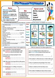 English Worksheets: The present progressive