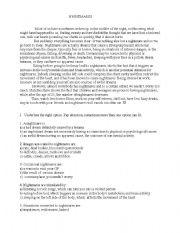 English Worksheets: nidhtmares