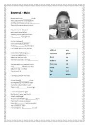 English Worksheets: Beyoncé - Halo