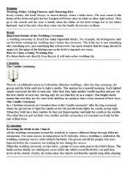 English Worksheet: marriage ceremonies