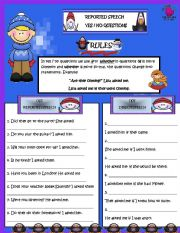 English Worksheet: REPORTED SPEECH (YES/NO QUESTIONS)