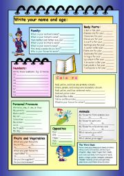 English Worksheet: Test for Family, Body, Numbers, Colours, Animals, Pronouns, Fruit & Vegetables