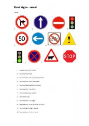 English Worksheet: Must and road signs