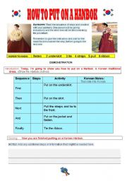 English Worksheets: HOW TO PUT ON A HANBOK