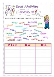 PLAY, GO and DO with Sports and other activities