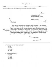 Friendly Letter Test Esl Worksheet By Paynel