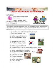 english worksheets giving personal information. Black Bedroom Furniture Sets. Home Design Ideas
