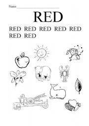 english worksheets color red. Black Bedroom Furniture Sets. Home Design Ideas